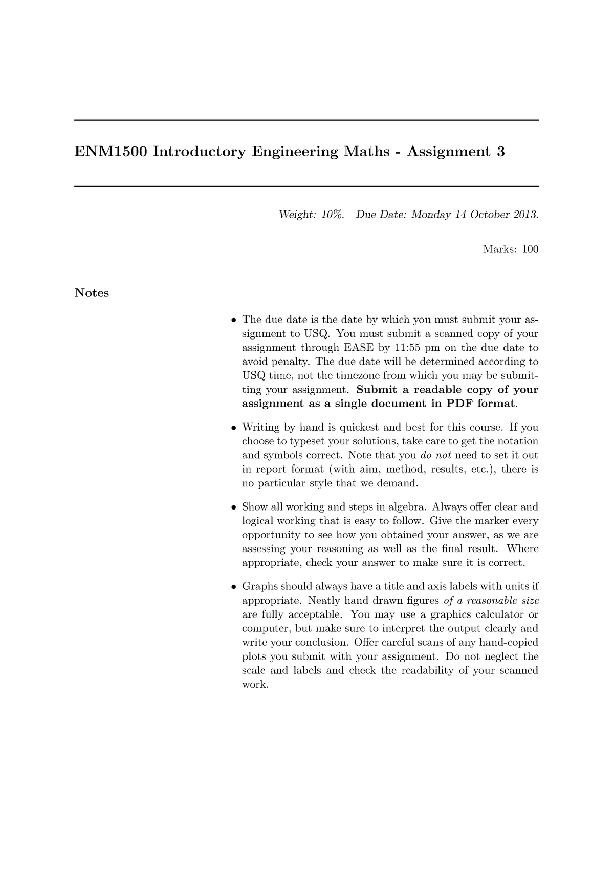 ENM1500 Assignment 3 2013 - ENM1500: Introductory