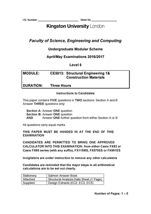 Structural Engineering 1 and Construction Materials 2016/17