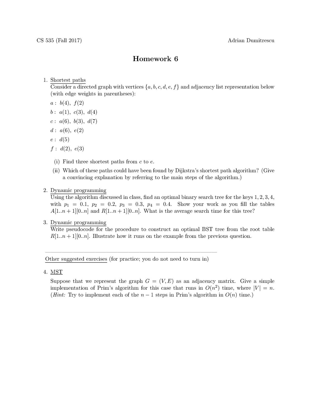 Homework 6 for CS 535 - Algorithm Design and Analysis - Fall