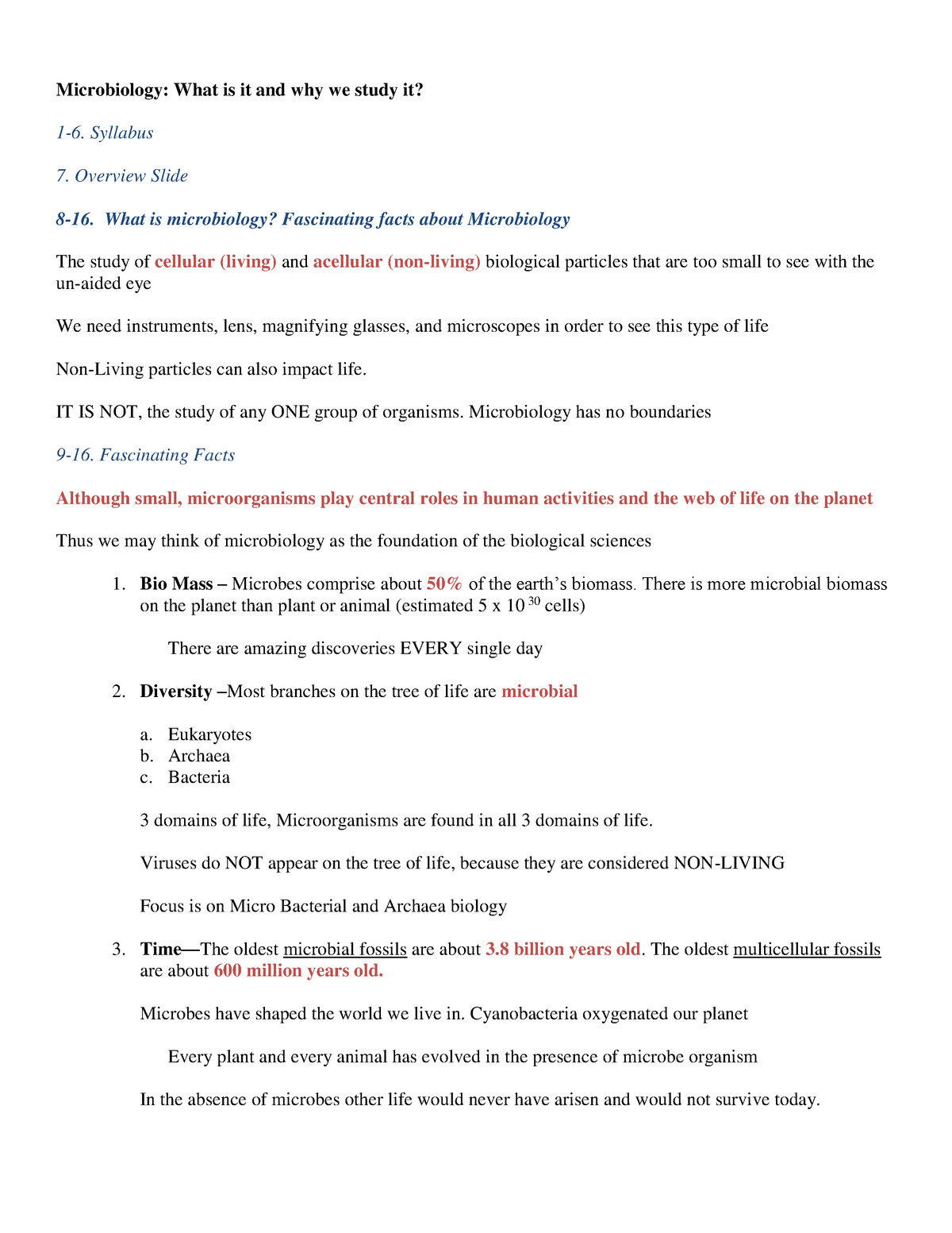 Microbiology - Lecture notes - 1 17 12 - BIOL 351: Microbiology
