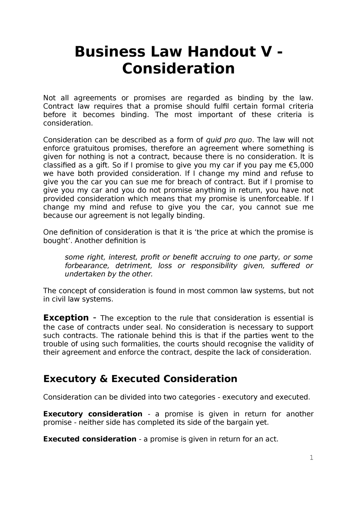 Business Law Handout 5 - Consideration - LW190 - NUI Galway - StuDocu