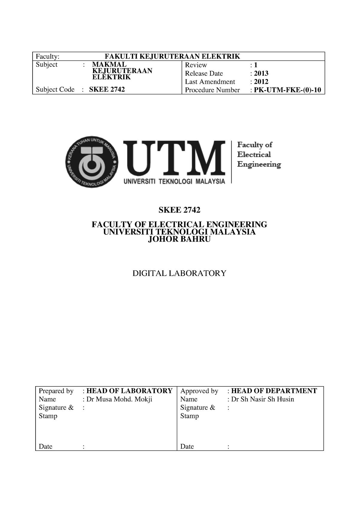 Lab Sheet (Pre-lab): Digital Laboratory - SKEE 2742 - StuDocu