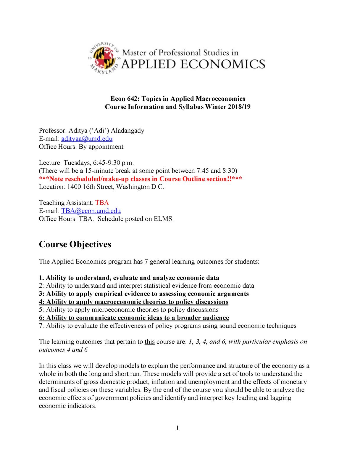 ECON 642 Syllabus - ECON423: Econometrics II - StuDocu