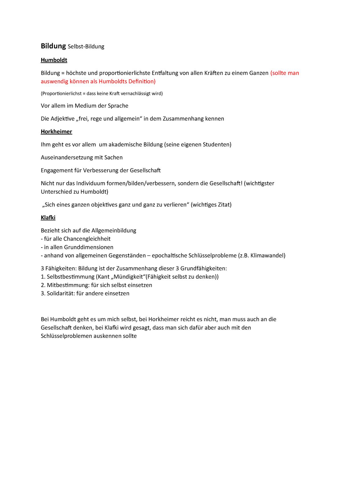 Zusammenfassung Bildung 060877 Wwu Studocu