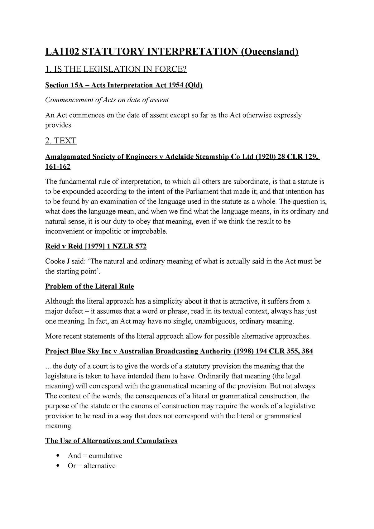 LA1102 Statutory Interpretation (Queensland) (FULL) - JCU