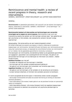 Vertaling Van Westerhof S45321 Psychogerontologie Studeersnelnl
