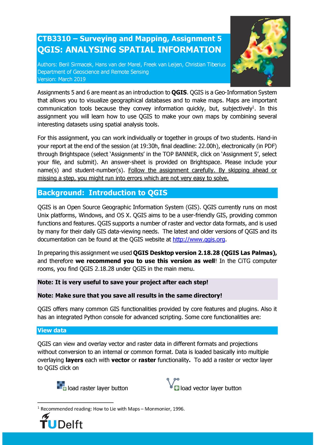 CTB3310 assignment 5 QGIS spatial information - TU Delft
