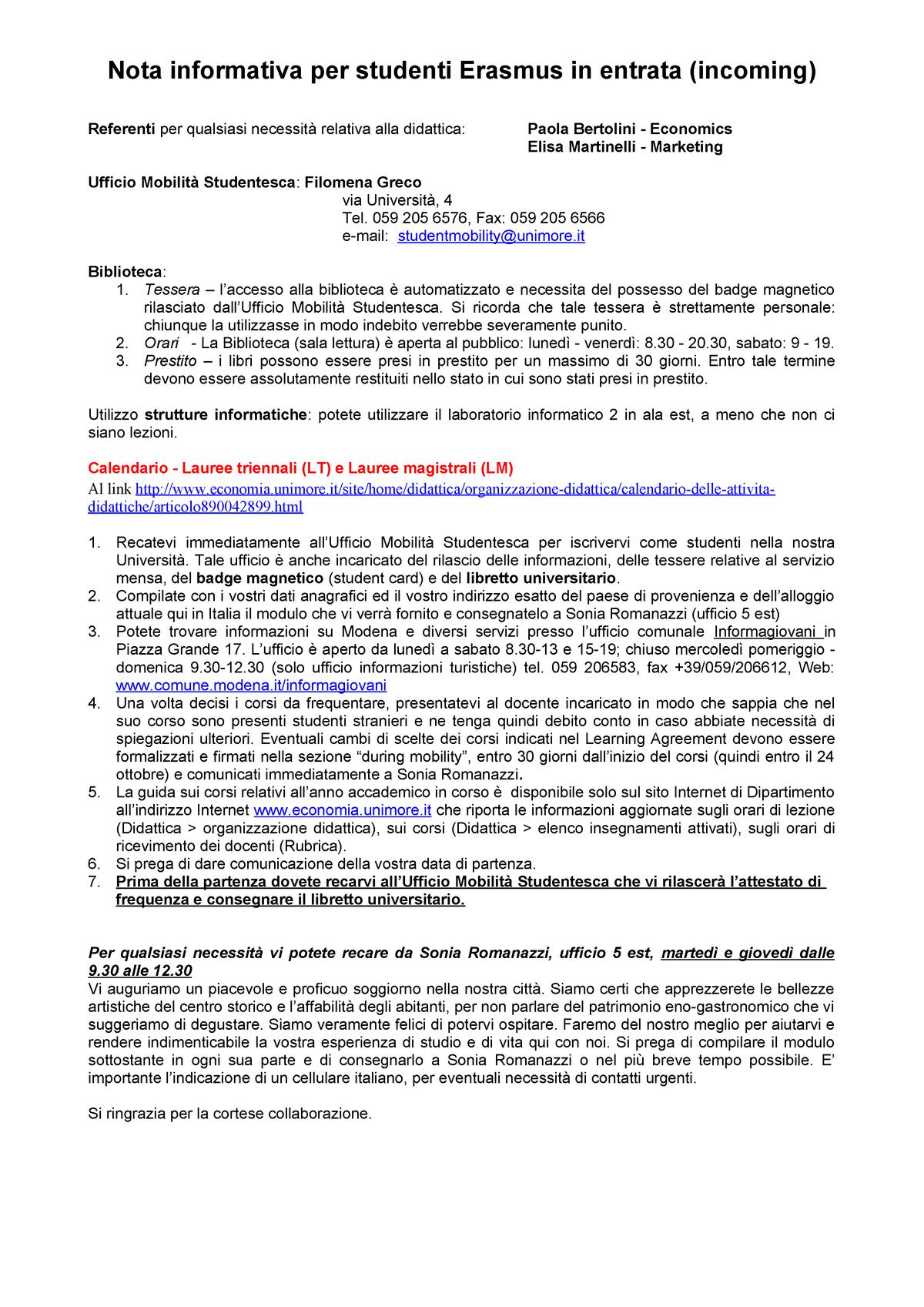 Calendario Lezioni Unimore.Info Entranti 18 Appunti 1 10 Lce 00034 Marketing E