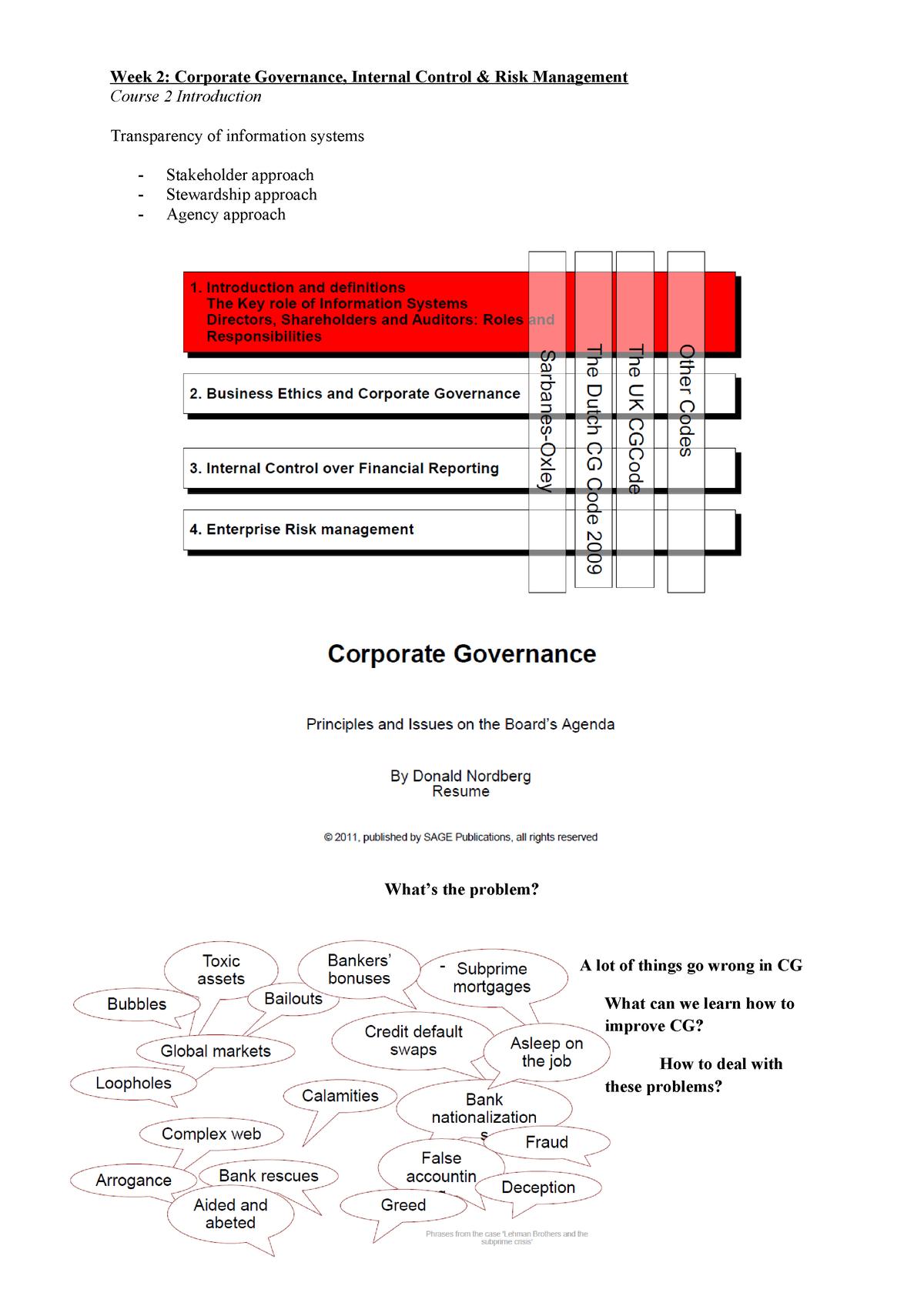 CG - Week 2 - Summary Corporate Governance Risk - StudeerSnel nl