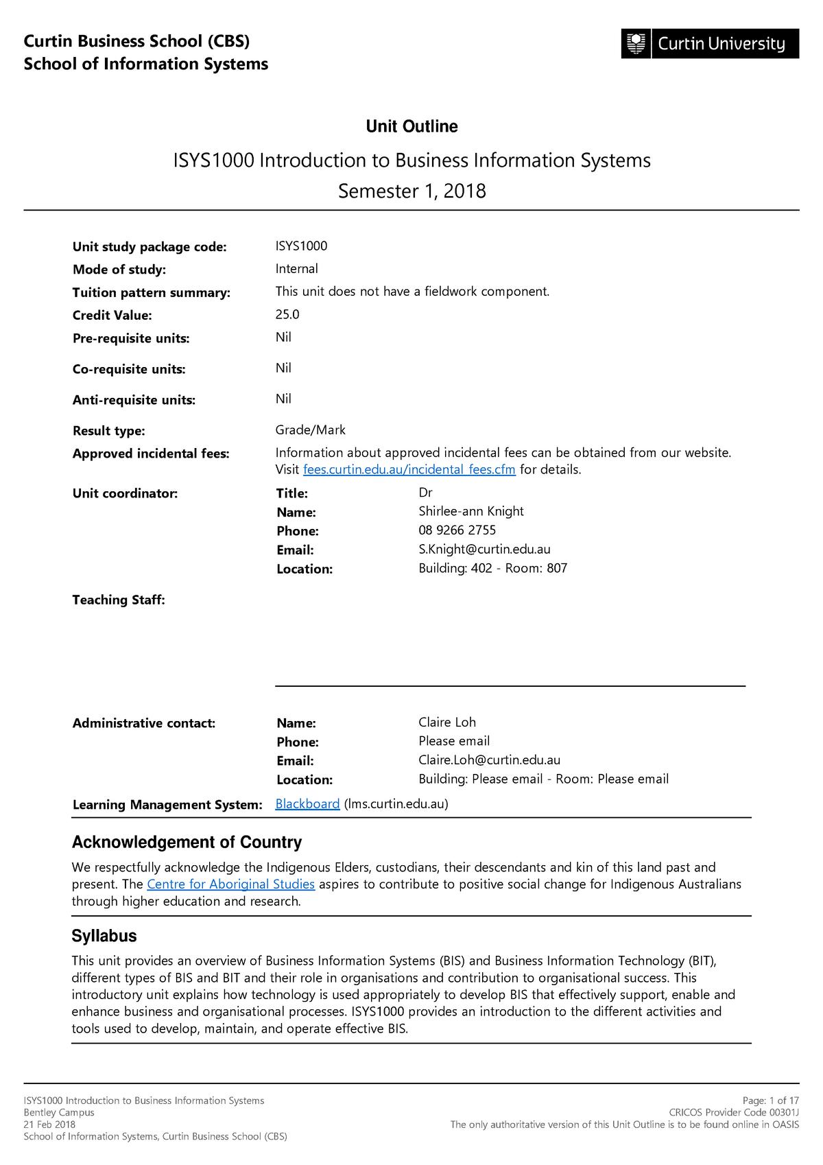 Unit Outline - Business Information Systems 100 10830 - StuDocu