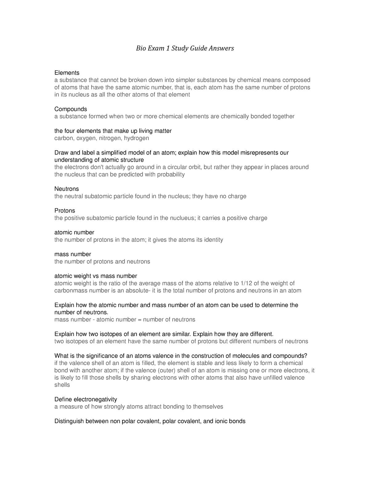 Bio 1107 Exam 1 SG - Summary Principles Of Biology I - StuDocu