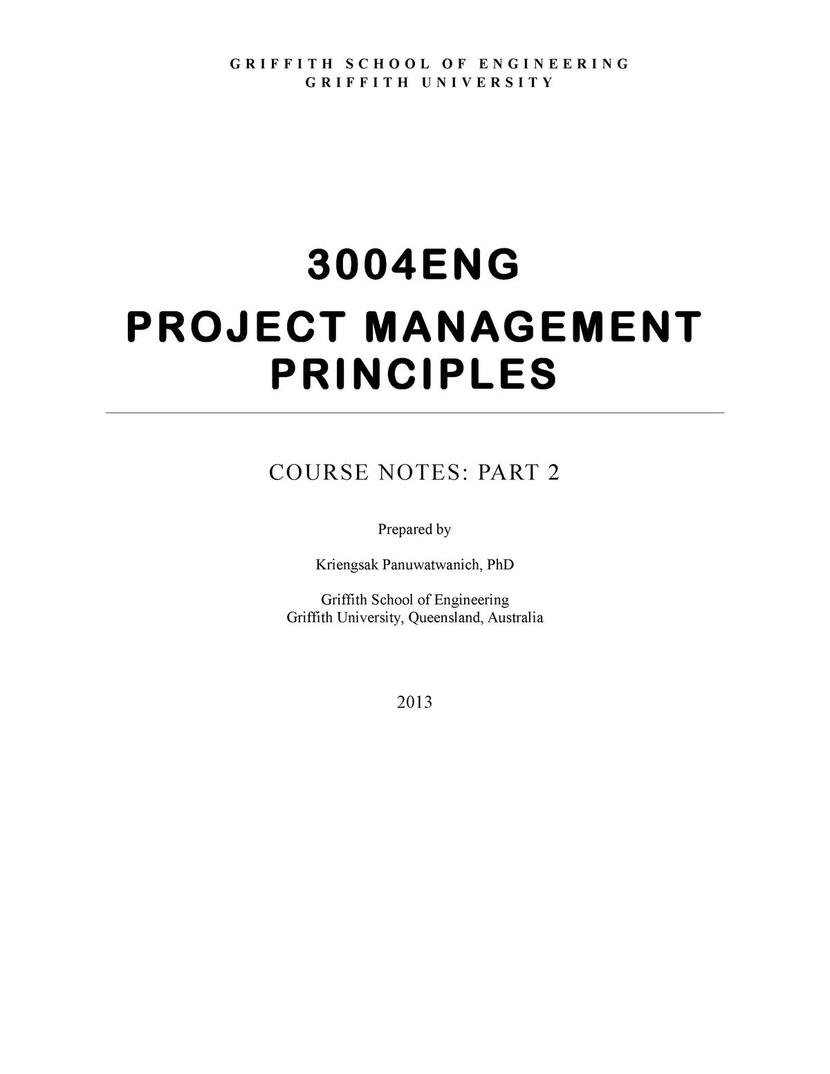 Lecture notes - project management principles course notes part 2