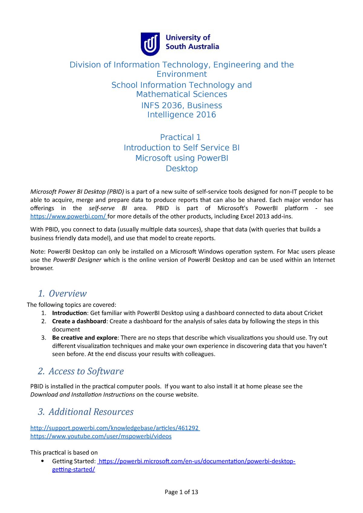 Practical - Business intelligence - infs 2036 - power bi