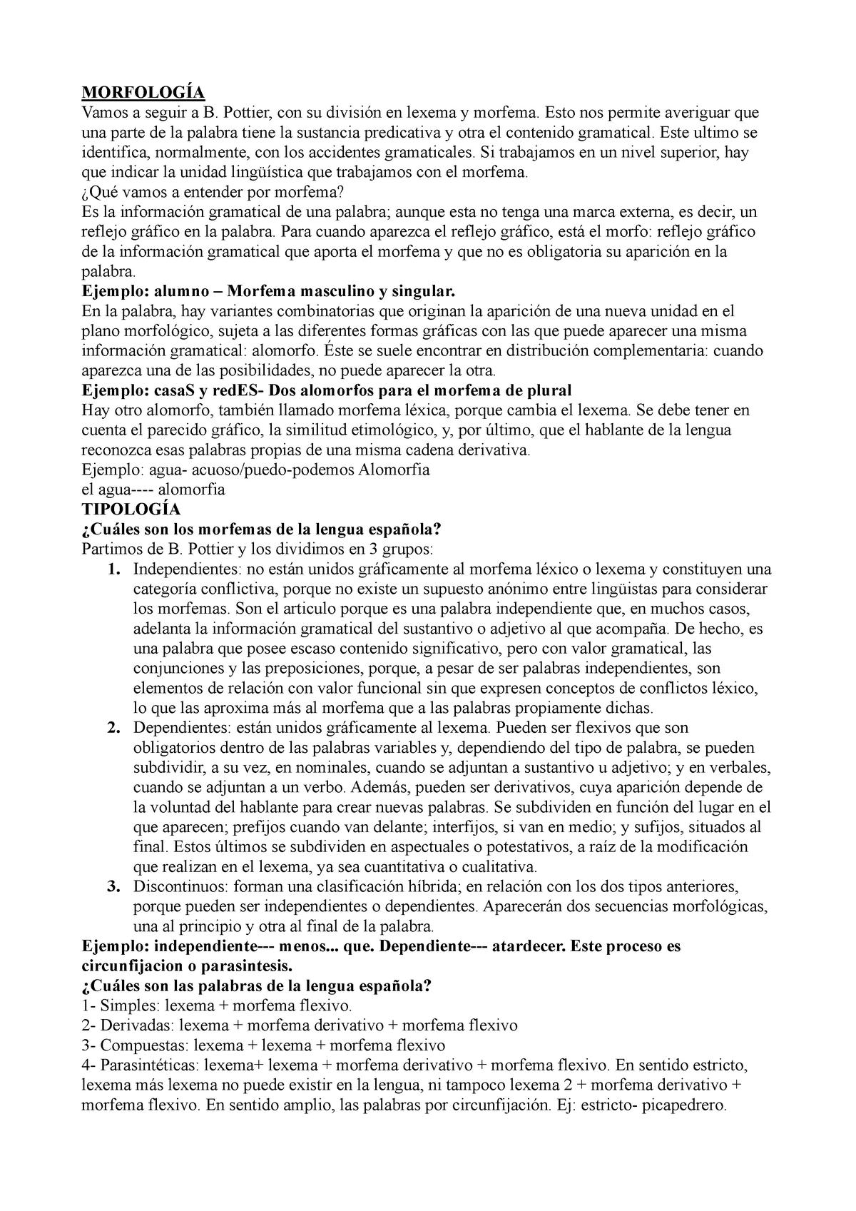 Apuntes Morfología Morfologia Um Studocu