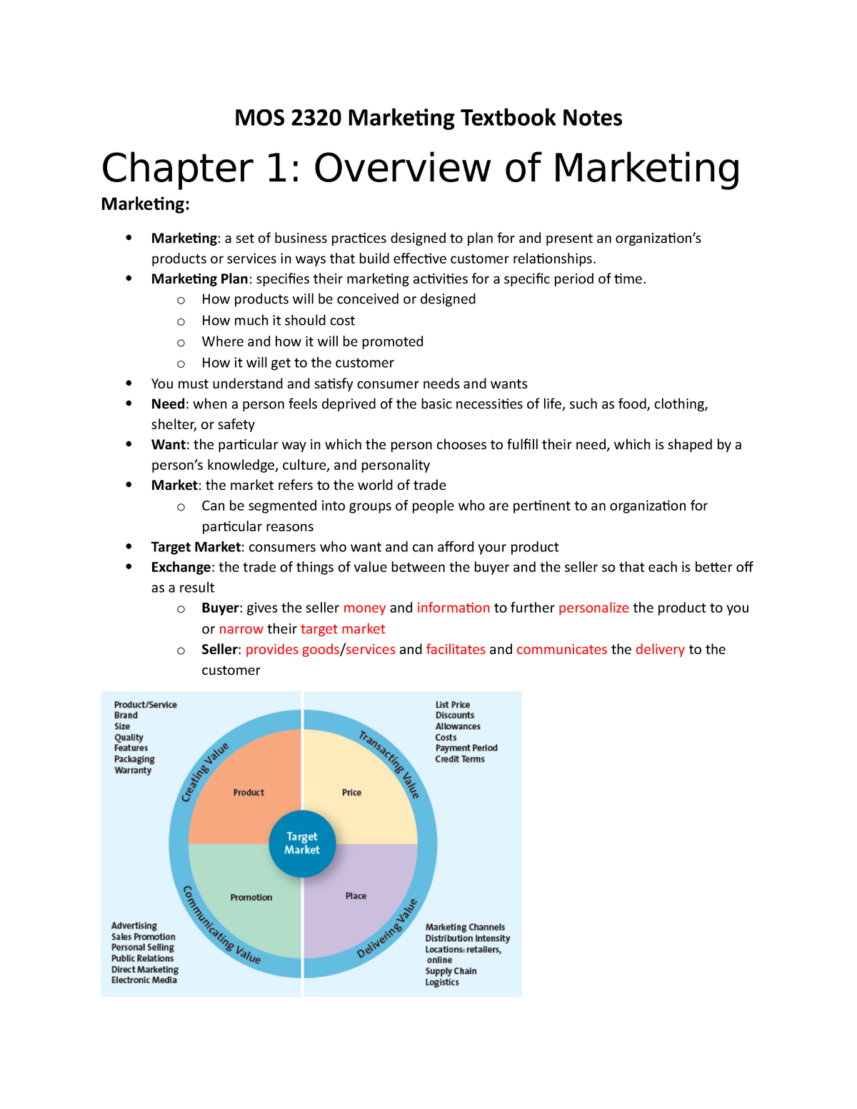 Marketing Midterm Textbook Notes UWO StuDocu