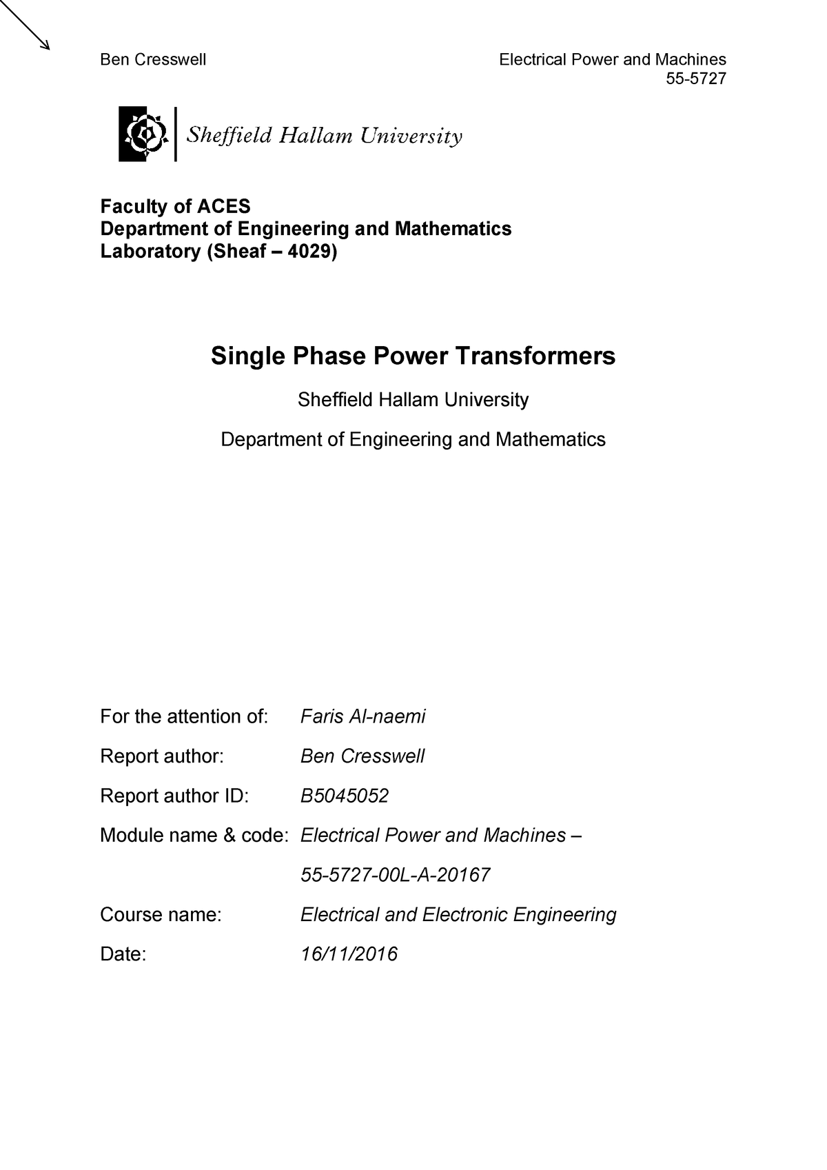 Single Phase Power Transformer Lab Report - power electronics and