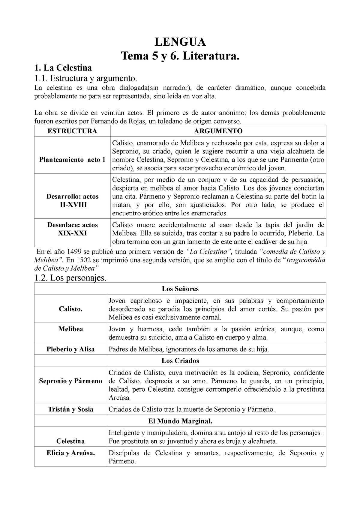 Lengua Tema 5 Y 6 Apuntes 5 6 Literatura Española 301031
