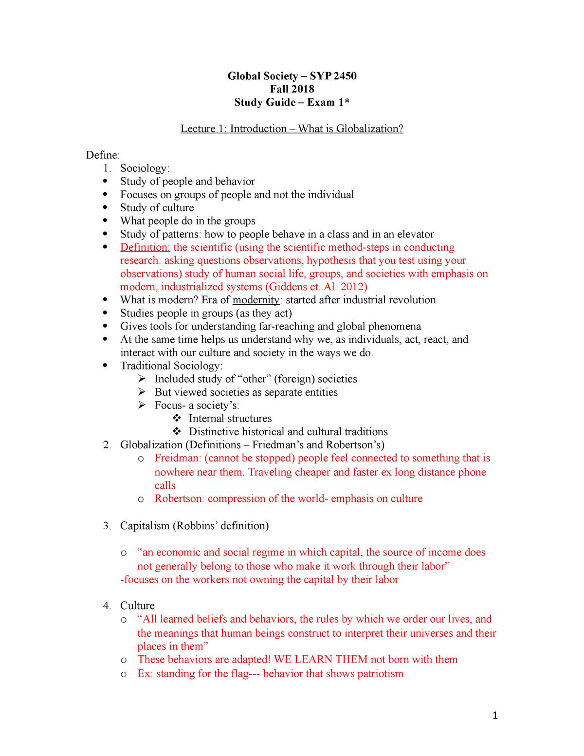 Global Soc Study Guide Exam 1 F18 - SYP 2450 - FAU - StuDocu