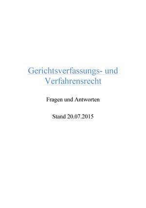 GVR-Skript-20 - Zusammenfassung Zivilverfahrensrecht für ...