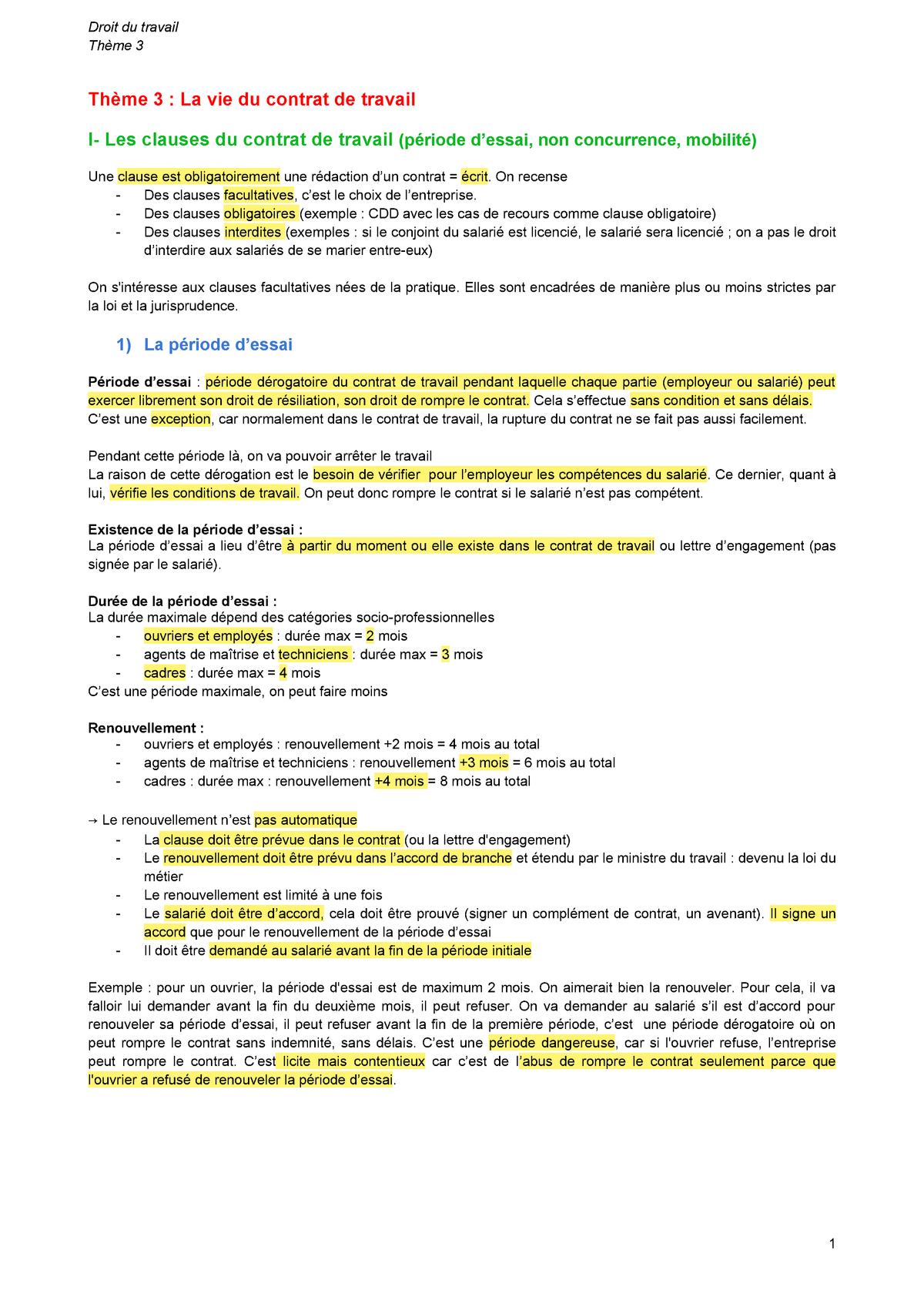 Theme 3 Notes De Cours 4 Droit Du Travail 1 Studocu