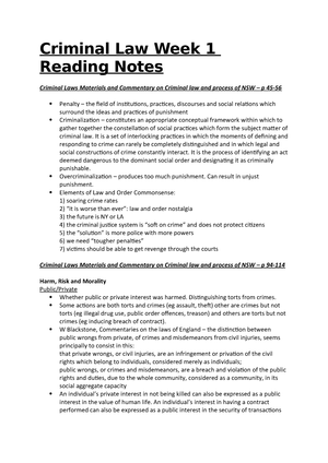 Criminal Law Reading Notes - LAW109: Criminal Justice and Procedure