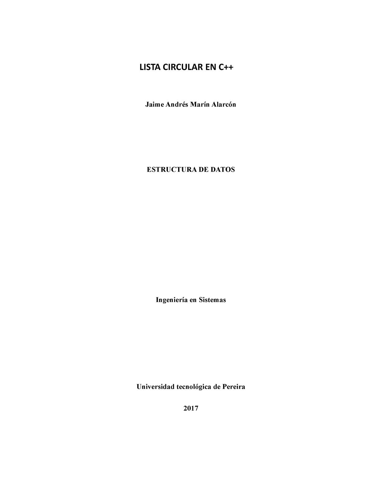 Lista Circular En C Estructura De Datos Is304 Utp Studocu