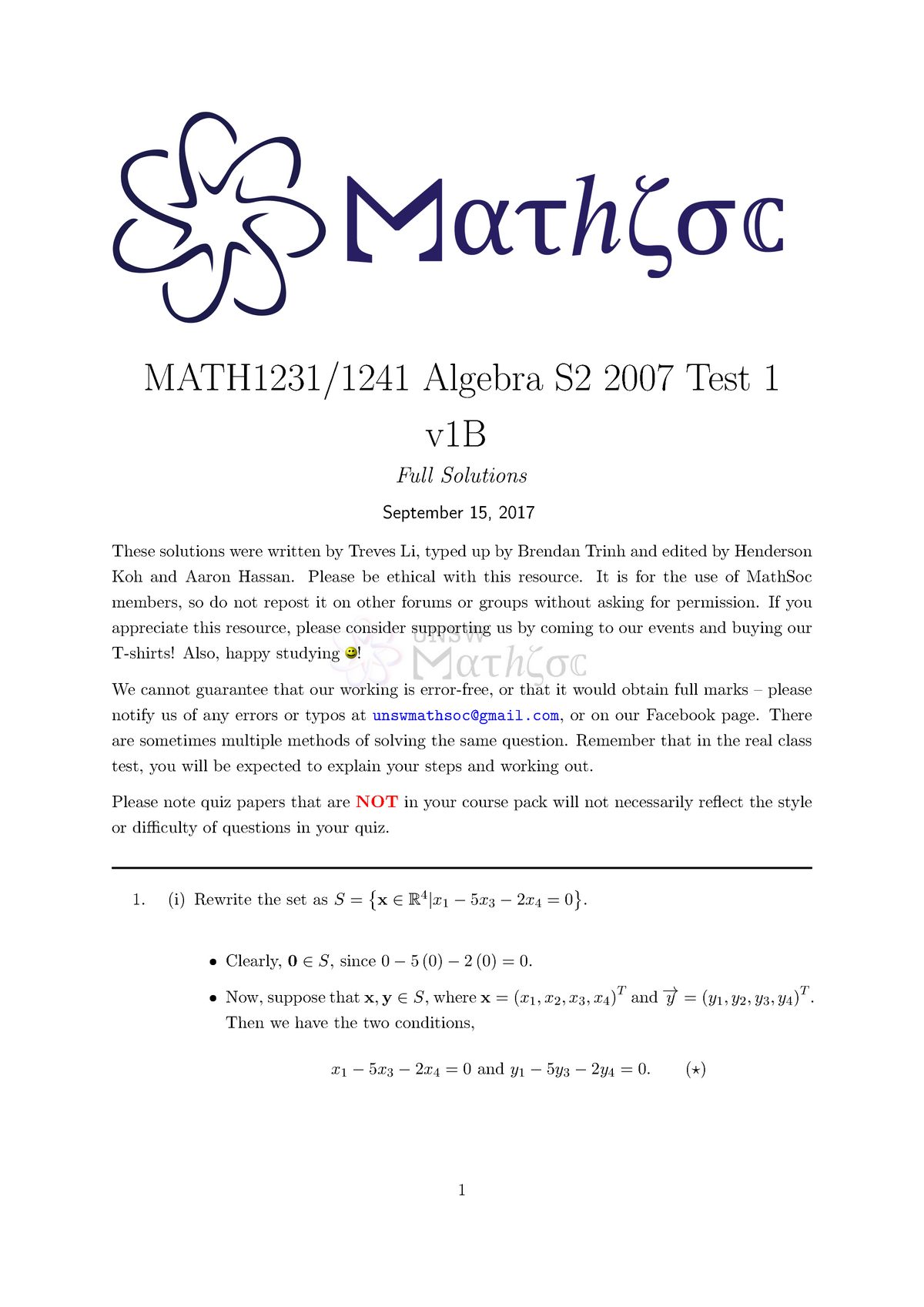 Exam 2018 - MATH1231: Mathematics 1B - StuDocu