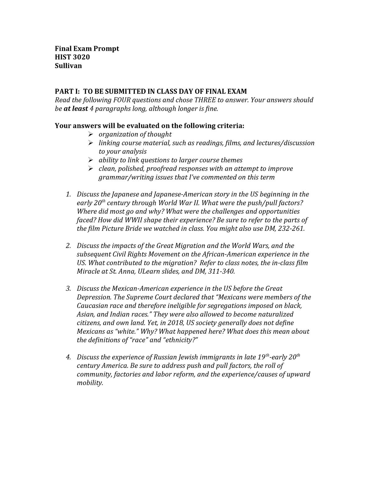 FINAL EXAM February 2018, questions - HIST 3020 - JWU - StuDocu