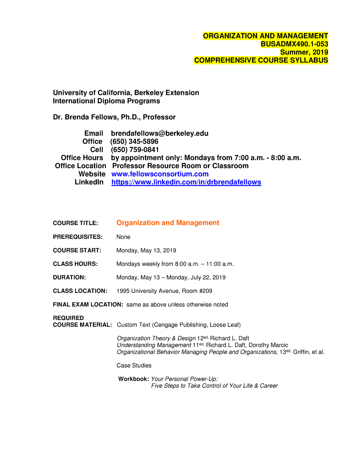 Organization AND Management Comprehensive Course Syllabus 5