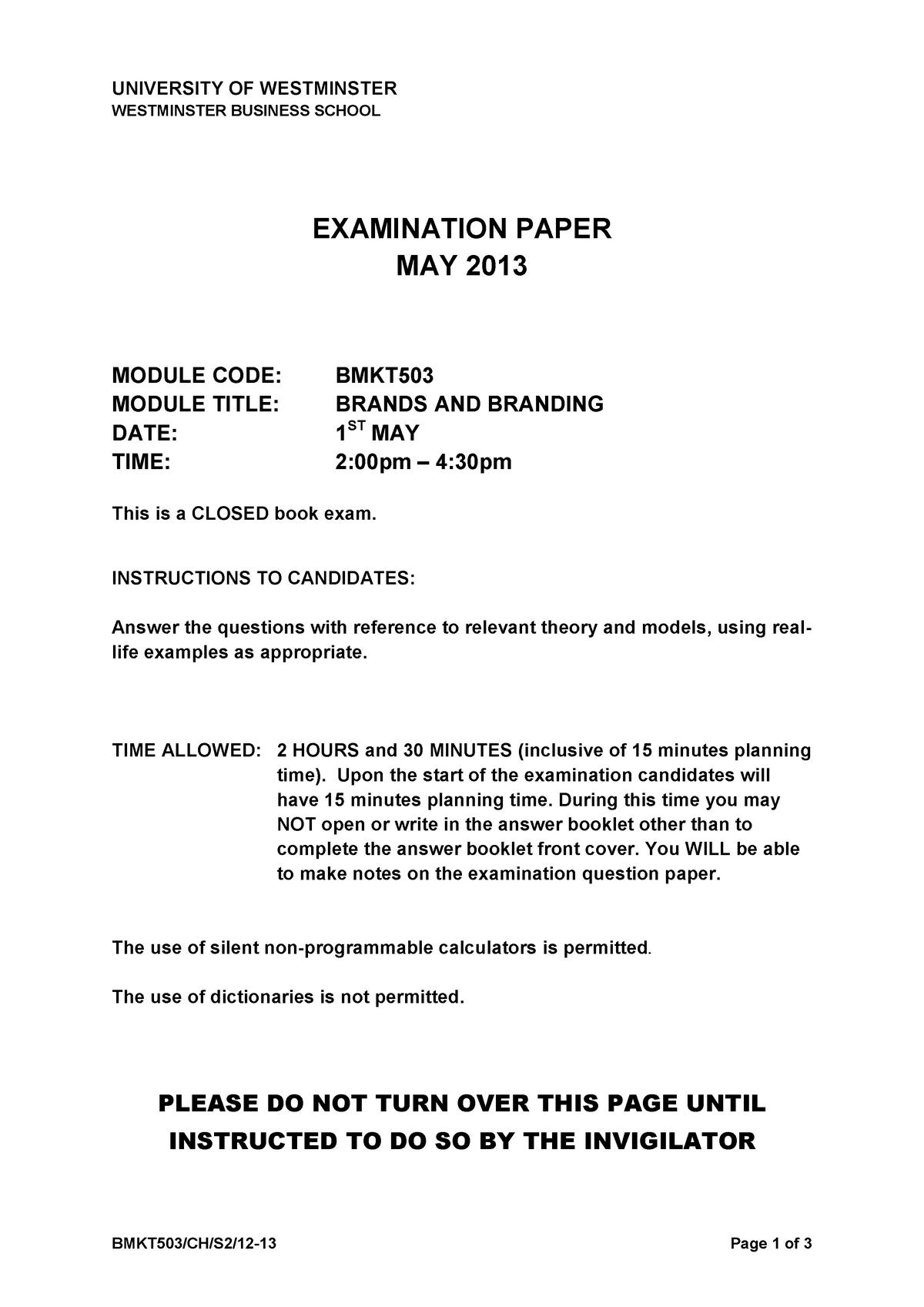 f598b3ecba Exam 2013 - BMKT503: Brands and Branding - StuDocu