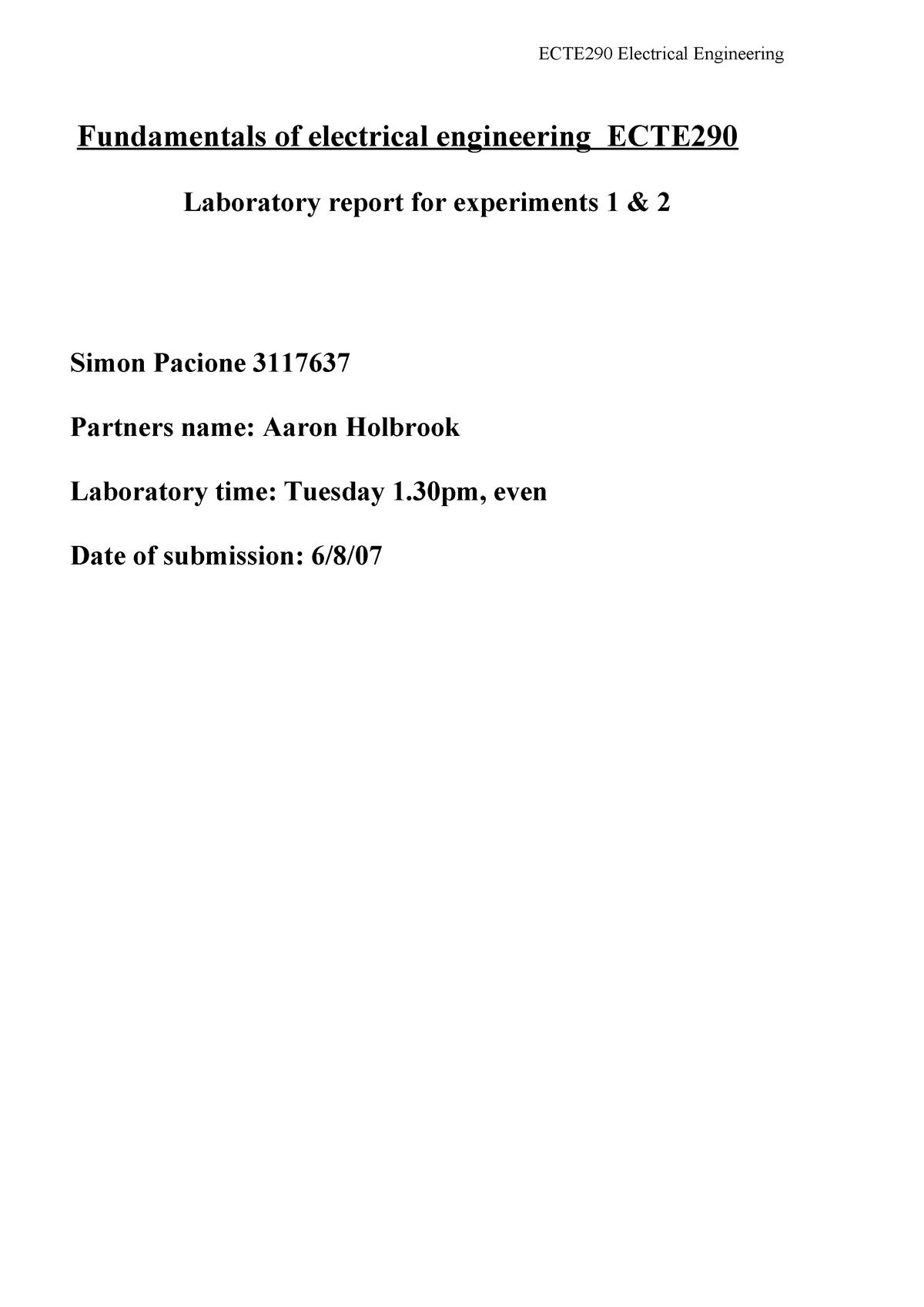 Practical - experiments 1-2 lab report - ECTE290 - UOW - StuDocu