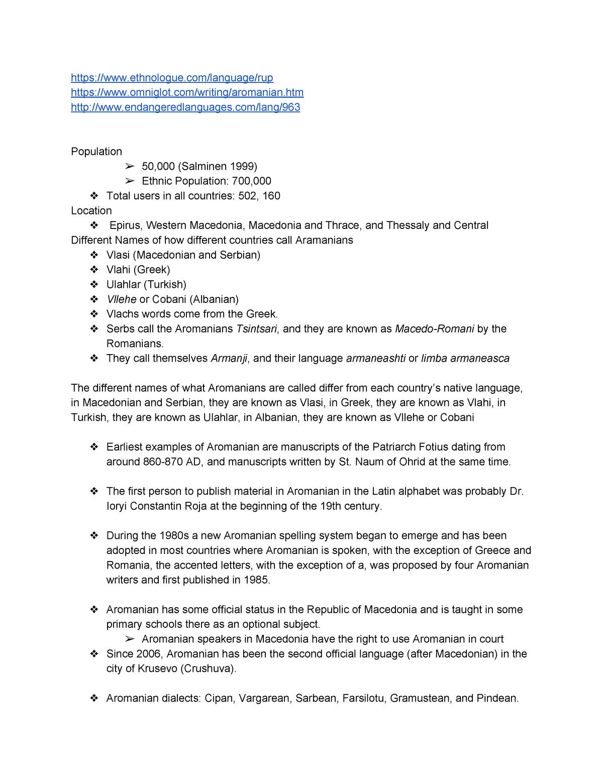Aromanian Notes - Self Study Course - LING105: Language Endangerment