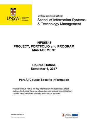 INFS5848 Project Portfolio and Program Management S12017