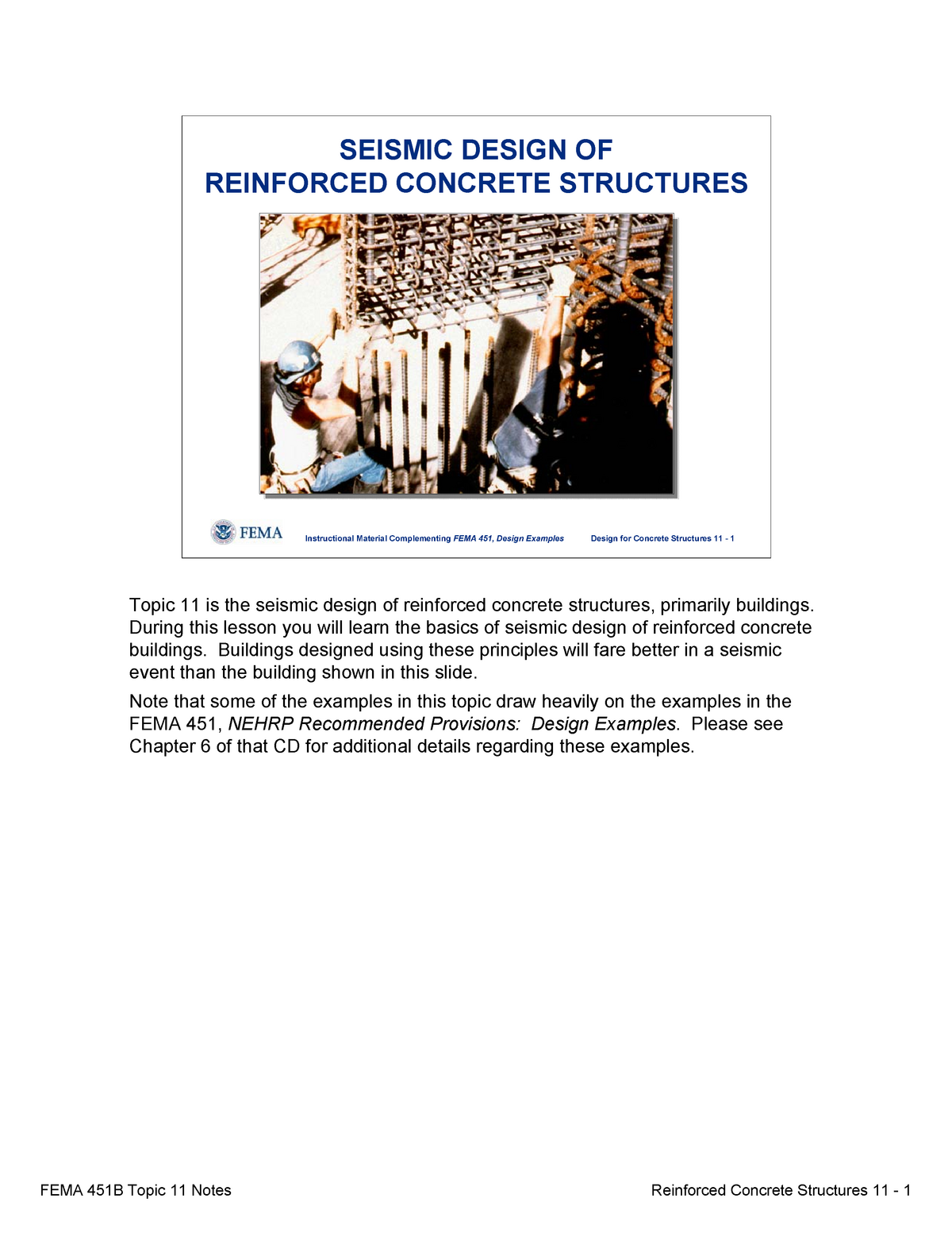 Topic 11 Seismic Designof Reinforced Concrete Structures Notes Studocu