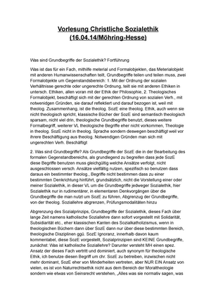 Vorlesung Christliche Sozialethik Mohring Hesse Ii Katholische Theologie Studocu