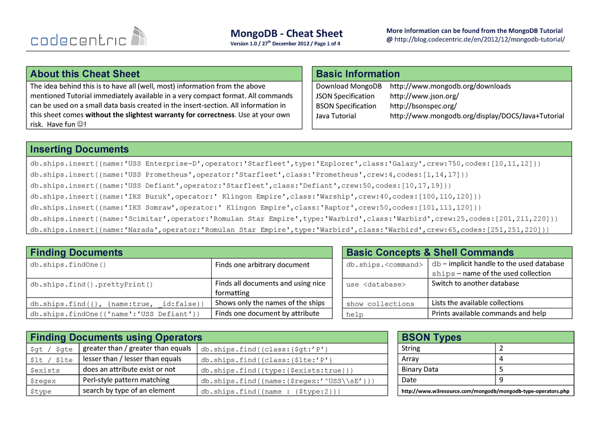 CheatSheet-v1_0-MongoDB - 615000350: Bases de Datos - StuDocu