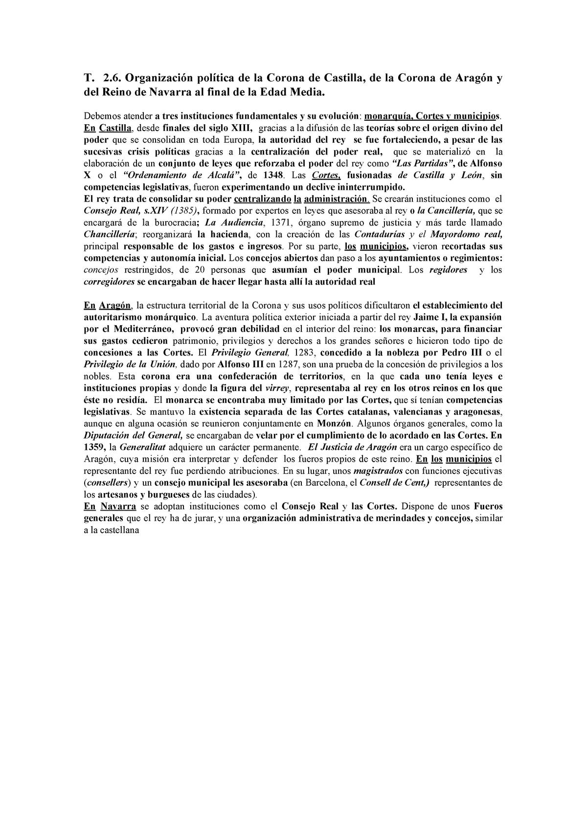 T 2 6 Organización Política De La Corona De Castilla De La Corona De Aragón Y Del Reino De Navarra Al Final De La Edad Me Studocu