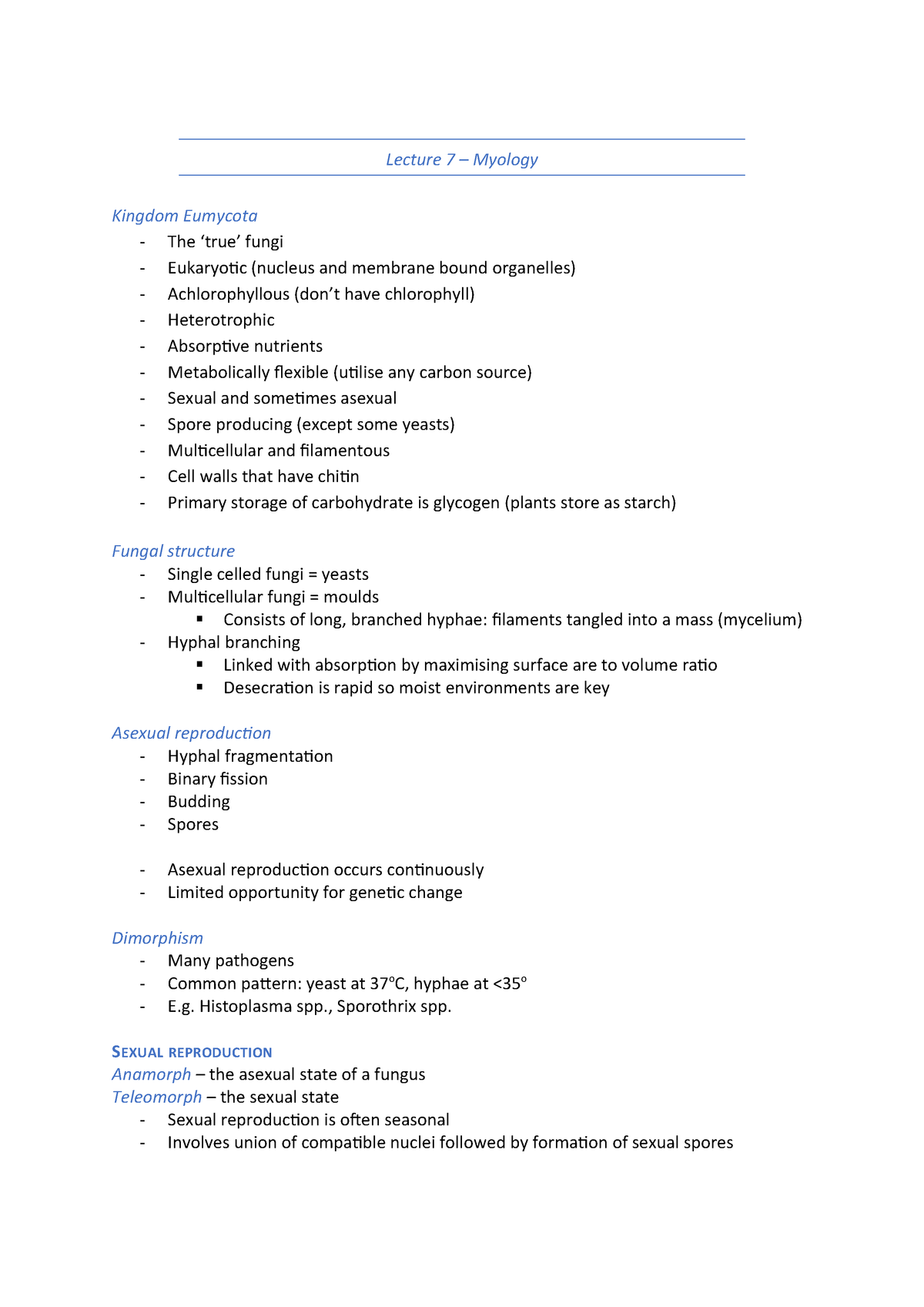 Weeks 7-8 Mycology - 091314 : General Microbiology - StuDocu