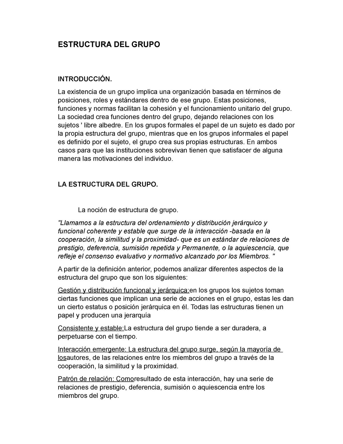 Estructura Del Grupo Psicología Organizacional I Epsi236