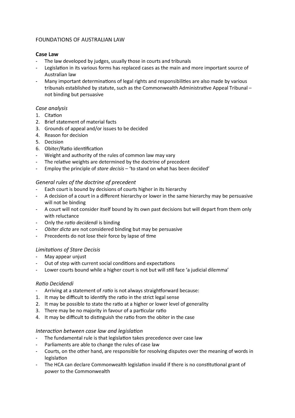 Summary Laying Down the Law tutorial work Tutorials Week 1-6