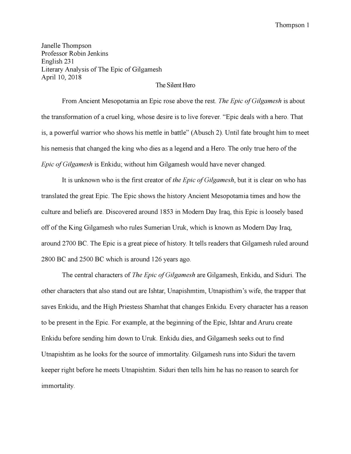 literary analysis comparision of gilgamesh and enkidu   eng   literary analysis comparision of gilgamesh and enkidu   eng  world  literature i   studocu
