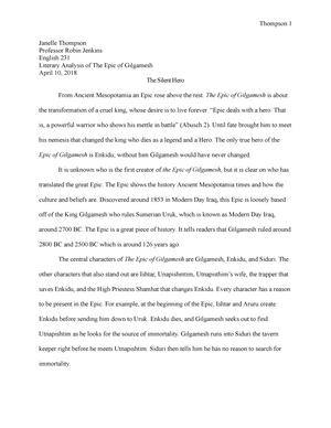 epic of gilgamesh essay topics