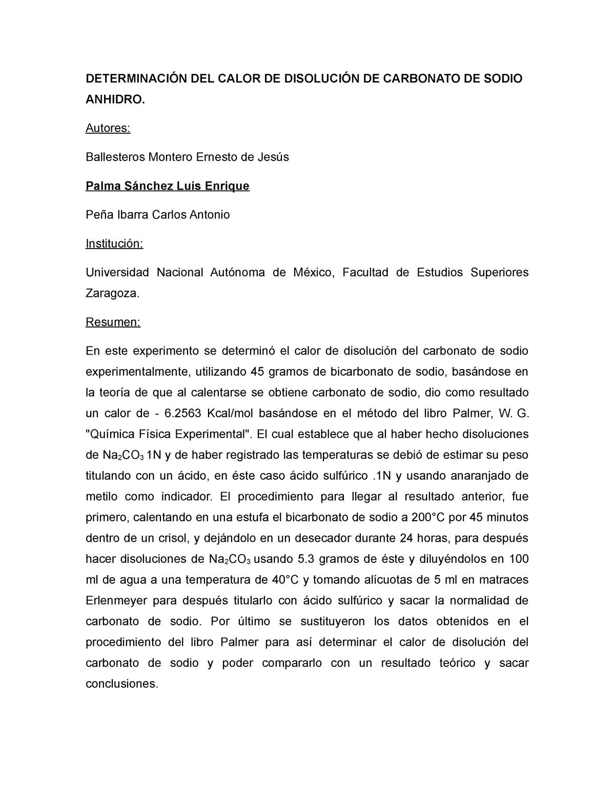 Calor De Disolución Del Carbonato De Sodio Palma Sánchez