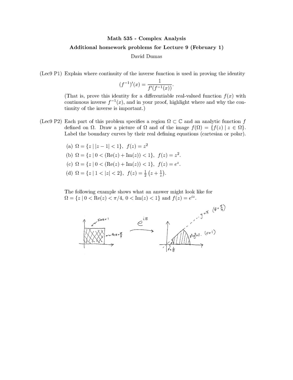 Math 535 - Complex Analysis HW lecture 9 - MATH 535: Complex