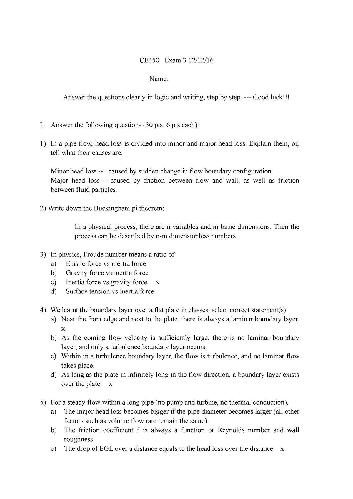 Exam 2016 - CE 35000: Fluid Mechanics - StuDocu