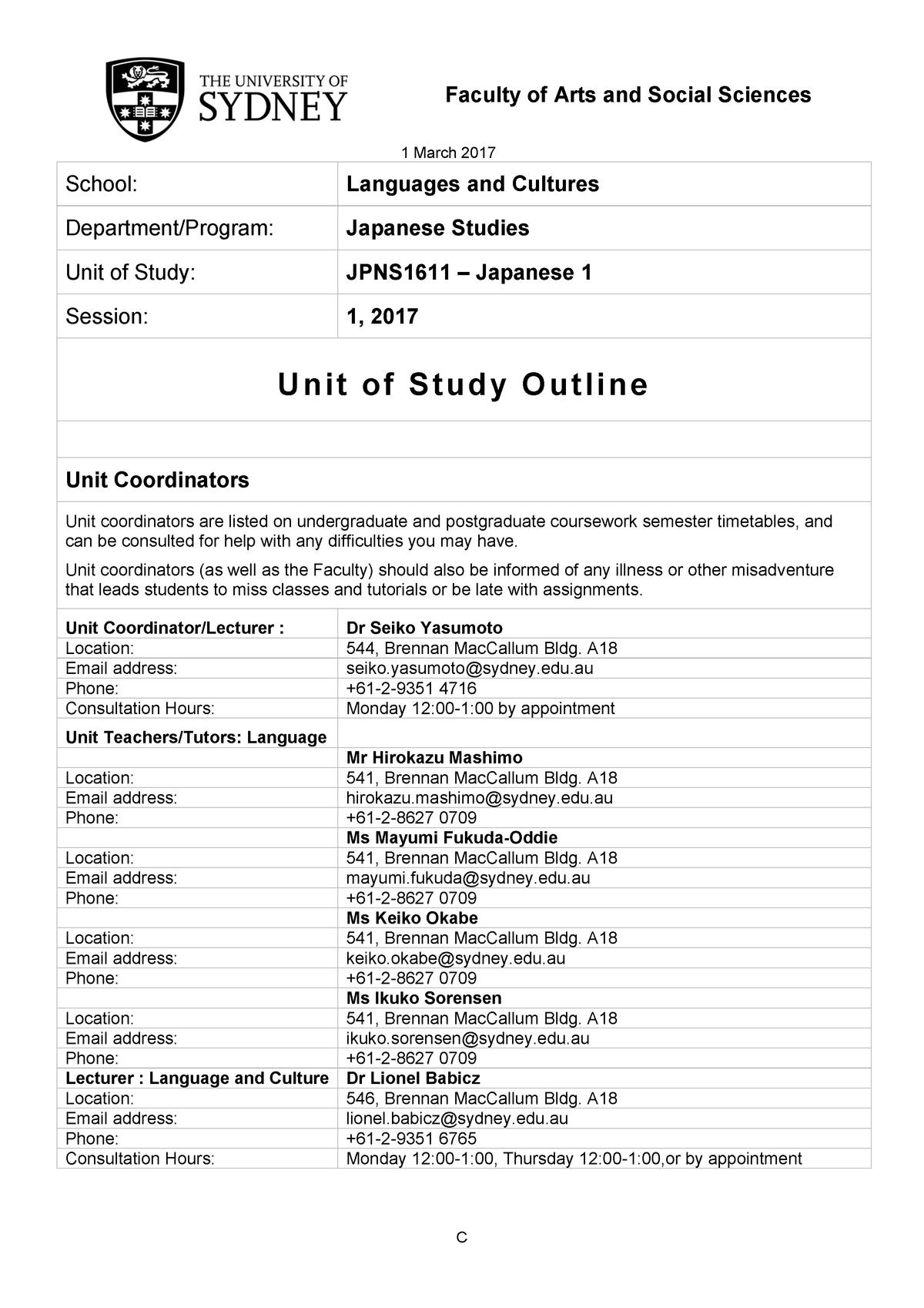 1 JPNS1611 Course Outline 2017- March 1st - JPNS1611: Japanese 1