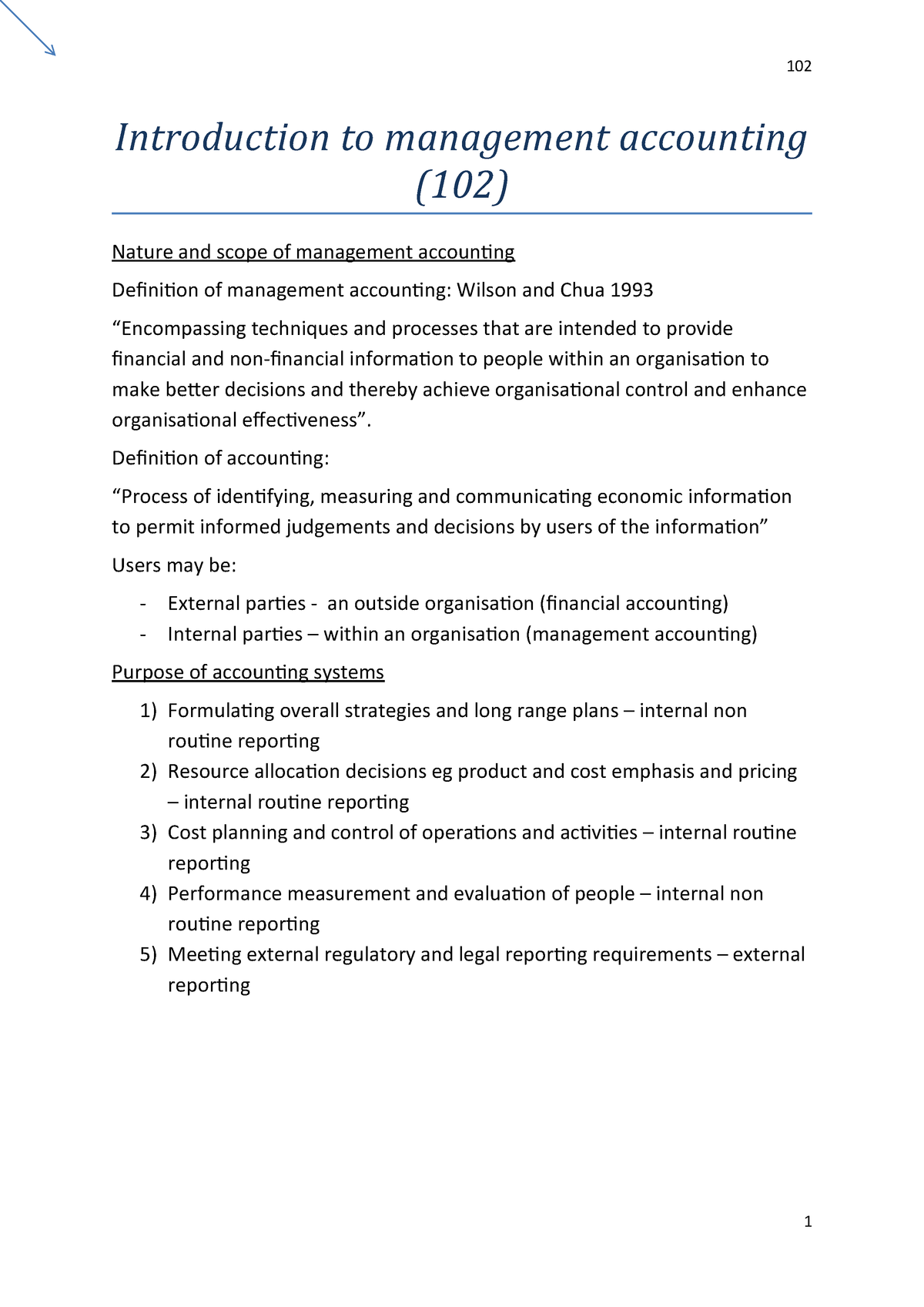 Introduction To Management Accounting Notes - Lecture notes