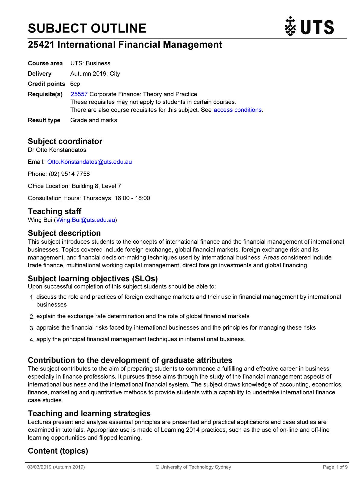 International Financial Management Outline - 020501 - UTS