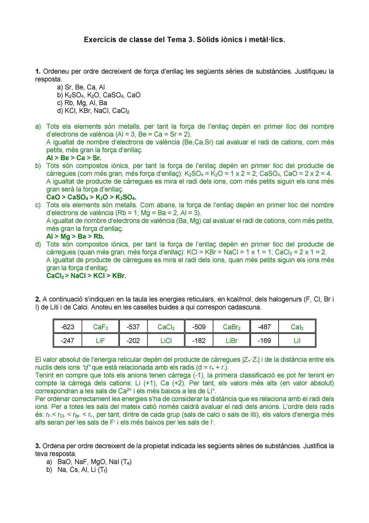 Exercicis Sòlids Iònics I Metàl Lics Amb Solució 100765
