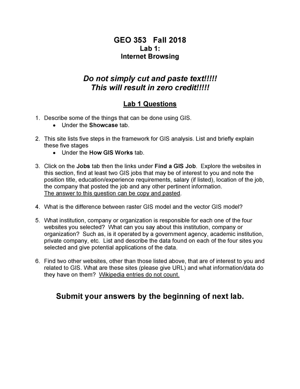 GEO 353 Lab 1 Questions - lecture - GEO 353: Geographic